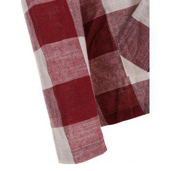 Long Sleeve Plaid Kangaroo Pocket Hoodie - RED M