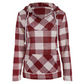 Long Sleeve Plaid Kangaroo Pocket Hoodie