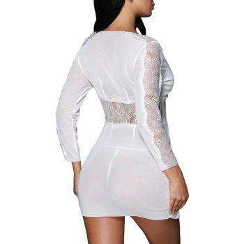 Mesh See Through Lace Babydoll Outfit - WHITE M