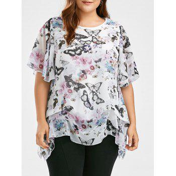 Butterfly  Printed Plus Size Chiffon Ruffle Top