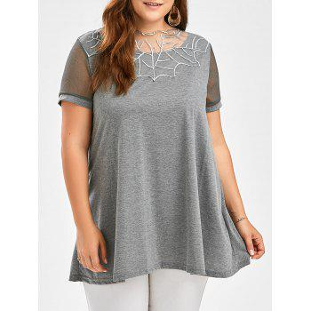 Semi Sheer Voile Panel Plus Size Tunic Top