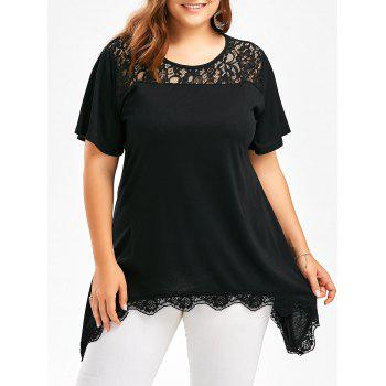 Buy Plus Size Scalloped Lace Insert Asymmetric Top BLACK