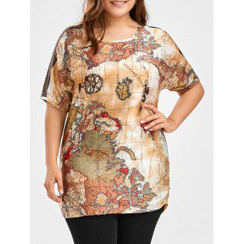 Map Print Plus Size Tunic Top