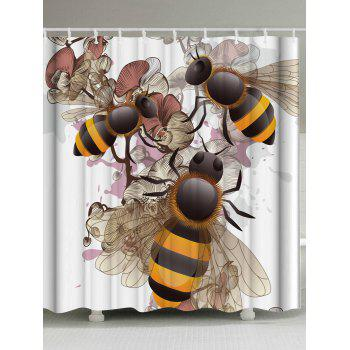 Floral Bee Fabric Shower Curtain with Hooks
