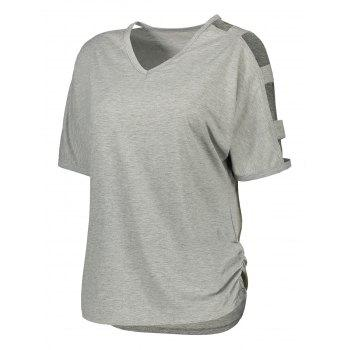 Ladder Cut Out V Neck Ruched Tee