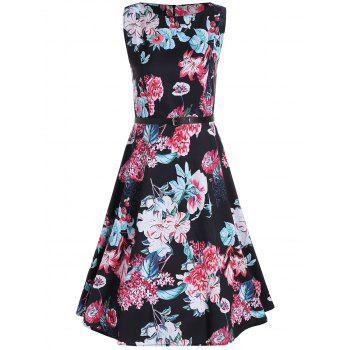 Flower Printed Sleeveless Belted Midi Dress