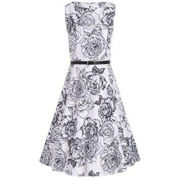 Handpainted Flower Printed Belted Sleeveless Flare Dress