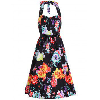 Flower Print Halter Backless Belted Flare Dress