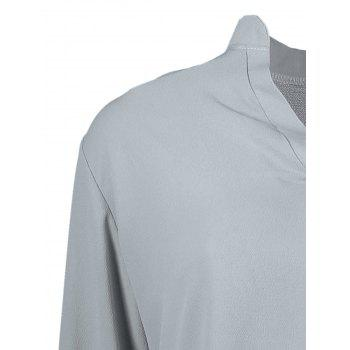 Simple Style Solid Color V-Neck 3/4 Sleeve Chiffon Blouse For Women - GRAY GRAY