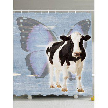 Waterproof Butterfly Cow Shower Curtain