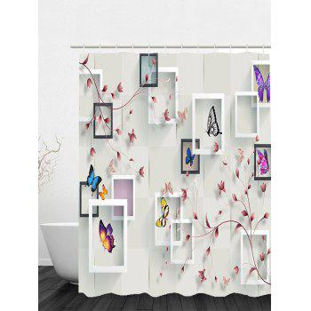 photo frame flower butterfly shower curtain white w71 inch l71 inch