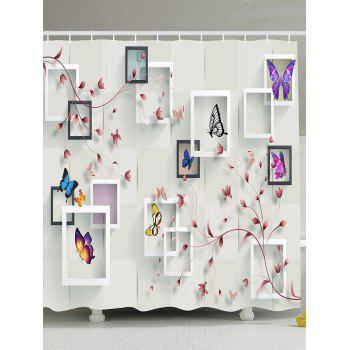 Photo Frame Flower Butterfly Shower Curtain