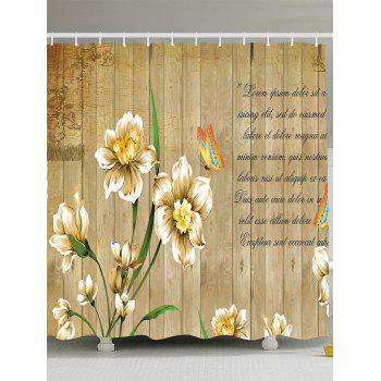 Butterfly Flower Letters Wooden Shower Curtain