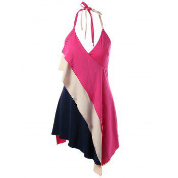 Halter Asymmetrical Color Block Tank Top