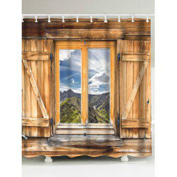 Wood Window Landscape Printed Shower Curtain