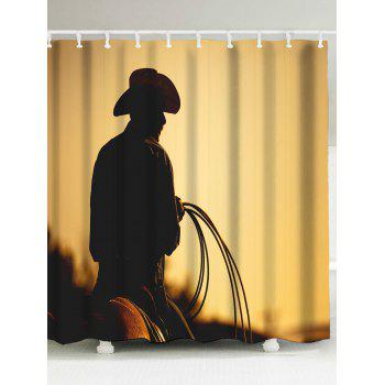 west cowboy figure fabric shower curtain