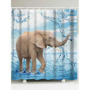 Elephant Playing Water Fabric Shower Curtain