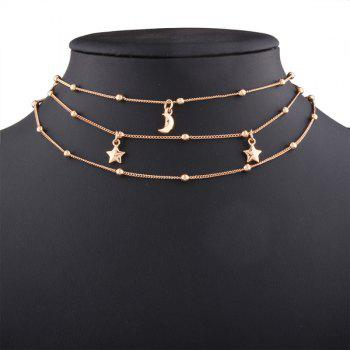 Alloy Star Beads Moon Chain Layered Necklace