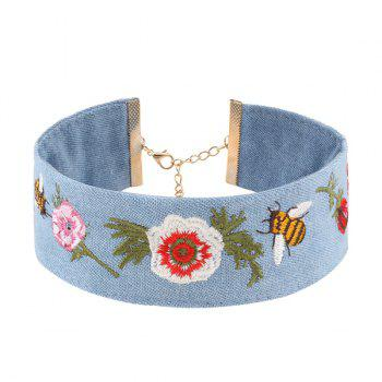 Denim Embroidery Bee Flower Choker Necklace