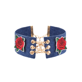 Alloy Chain Denim Embroidery Flower Choker Necklace