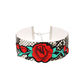 Snake Pattern Embroidery Flower Choker Necklace