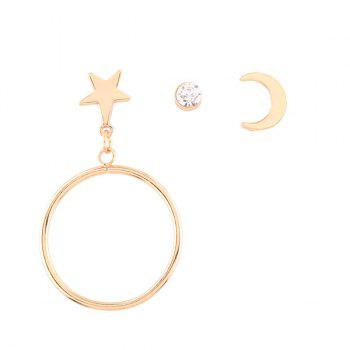 Rhinestone Star Circle Moon Earring Set