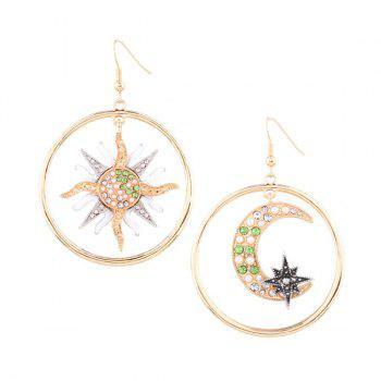 Asymmetric Rhinestone Sun Moon Star Circle Earrings