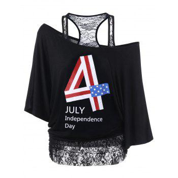 Lace Panel Funny 4th of July T-Shirts