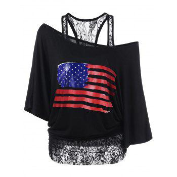 Lace Panel American Flag Patriotic T-Shirt