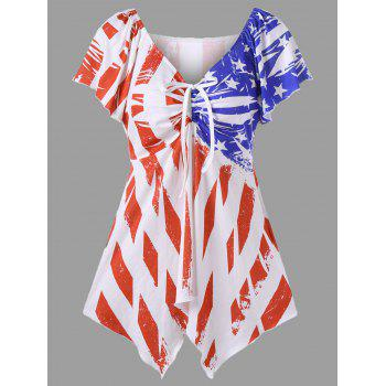 Bowtie Plus Size Frayed Flag Print Swing Top