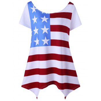 Asymmetric Patriotic Plus Size American Flag T-Shirt