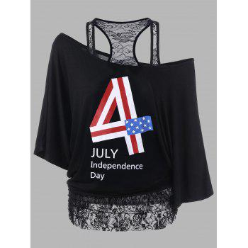 Lace Panel Plus Size Funny 4th of July T-Shirts