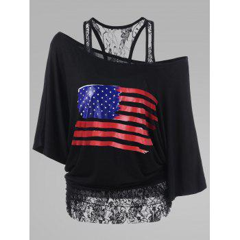 Lace Trim Plus Size American Flag T-Shirt