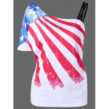 Plus Size Patriotic American Flag One Shoulder T-Shirt