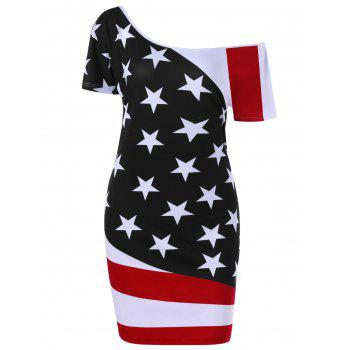 Plus Size Skew Neck  American Flag Patriotic Bodycon Dress