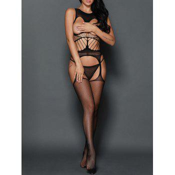 Fishnet Crochet Cupless Garter Bodystocking