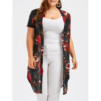 Floral See Through Plus Size Top