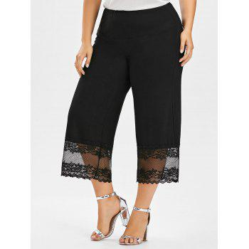 Lace Trim Wide Leg Plus Size Pants