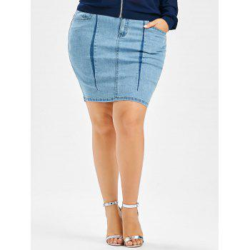 Denim Mini Plus Size Bodycon Skirt