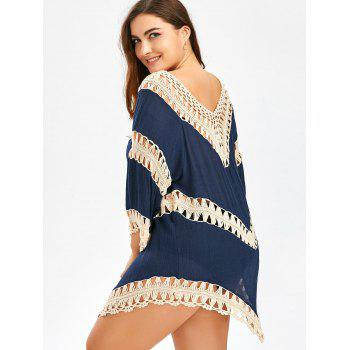 Plus Size Asymmetric Crochet Panel Cover-Up - CERULEAN ONE SIZE