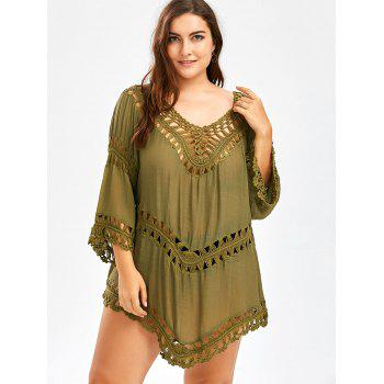 Plus Size Asymmetric Crochet Panel Cover-Up - ARMY GREEN ONE SIZE