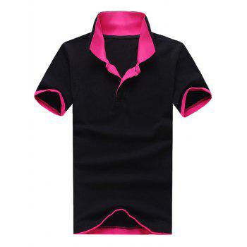 Polo Collar Color Block Panel T-Shirt