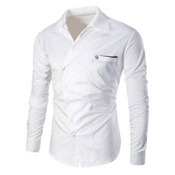 Embroidered Pocket Oblique Buttons Shirt