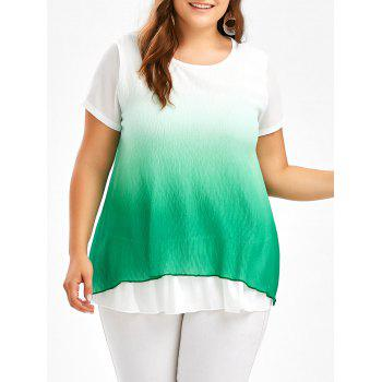 Plus Size Ruffle Chiffon Ombre Tunic Top