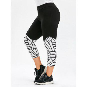 Plus Size Geometric Pattern Capri Sports Leggings