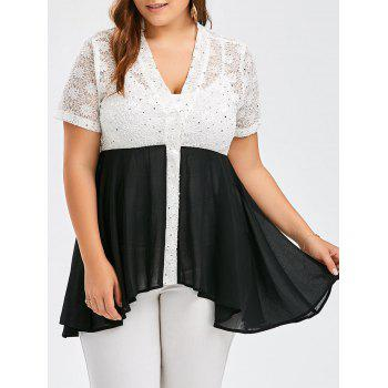 Plus Size Colorblock Lace Panel Swing Top
