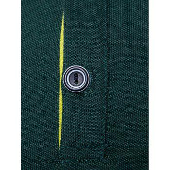 Half Buttoned Panel Polo Shirt - DEEP GREEN DEEP GREEN