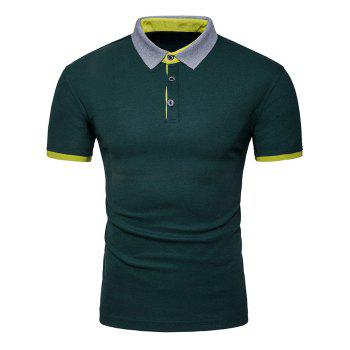 Half Buttoned Panel Polo Shirt - DEEP GREEN 2XL