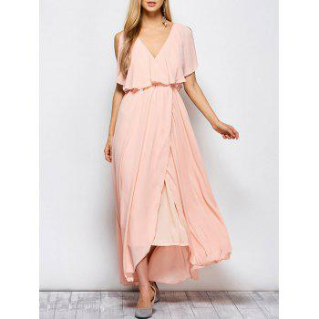 Ruffles Maxi Surplice Wedding Guest Prom Dress