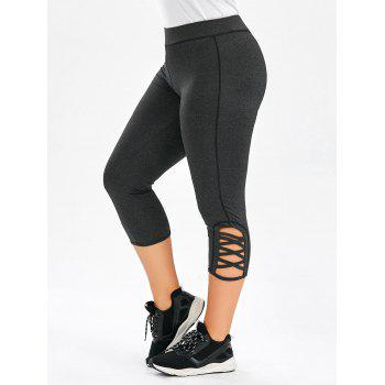Plus Size Side Criss Cross Capri Leggings - DEEP GRAY DEEP GRAY
